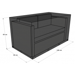 Housse de canapé 2 places 140x80x60 -Polyester Anthracite