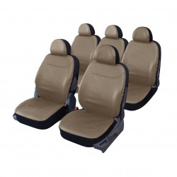 Housse auto Monospace 5 places simili cuir taupe