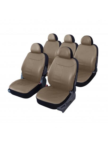 Housse siège auto universelle spéciale MONOSPACE 5 places en simili cuir taupe