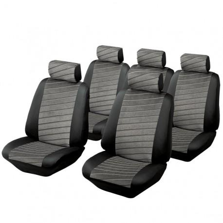 Housse auto monospace 5 places Velours, bicolore Noir gris