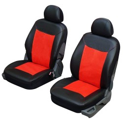 Housse siège auto pour sièges avants en simili cuir noir gris